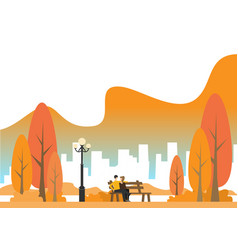 autumn city park with town buildings on a vector image