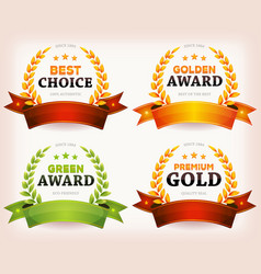 Awards palms laurel leaves with banners vector