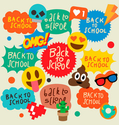 back to school speech bubbles stickers emoji vector image