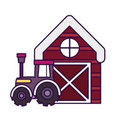 barn tractor farm animal cartoon vector image
