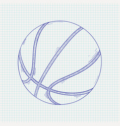 Basketball ball hand drawn sketch vector