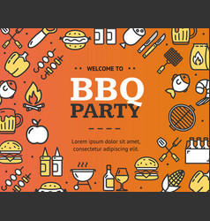 Bbq party signs round design template thin line vector