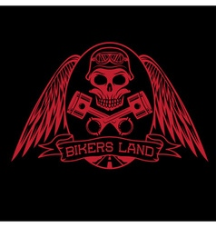 bikers land crest with skullwings and pistons vector image