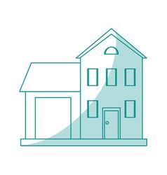 Blue shading silhouette cartoon facade two house vector