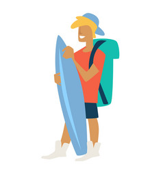 boy with surfboard traveler summer vacation guy vector image