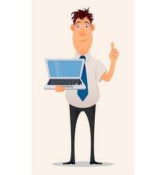 business man cartoon character smiling vector image
