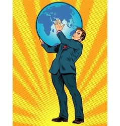 Businessman Titan Atlas holds the Earth vector image