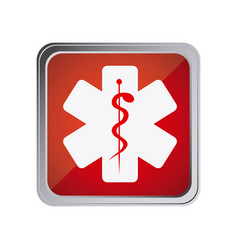 button with star of life with background red vector image