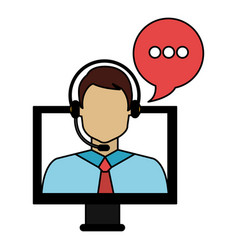 Call center agent with headset and computer vector