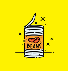 Canned baked beans icon vector
