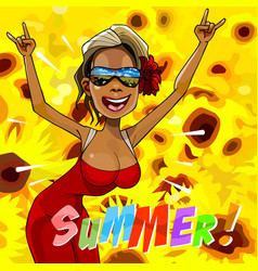 Cartoon happy woman rejoice summer vector