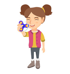 caucasian little girl playing with fidget spinner vector image