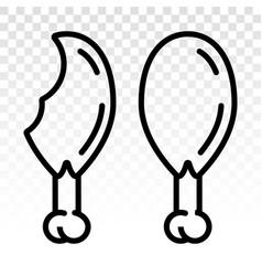 Chicken drumstick thighs - line art icon vector