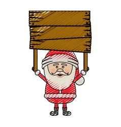 color crayon stripe cartoon of santa claus with vector image