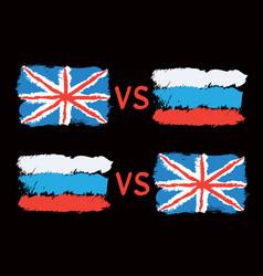 Conflict between great britain and russia vector
