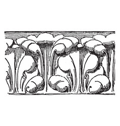 Cornice molding interior wall vintage engraving vector