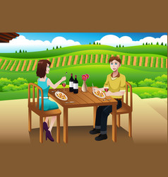 Couple eating lunch picnic at a winery vector
