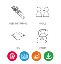Couple kiss lips and jewelry icons vector