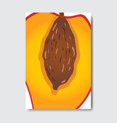Cut peach template card slice fresh fruit poster vector