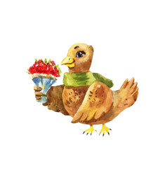 cute bird gives a birthday bouquet of flowers vector image