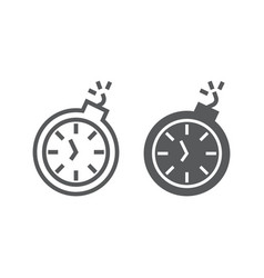 deadline line and glyph icon time and clock vector image