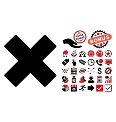 Delete X-Cross Flat Icon with Bonus vector image