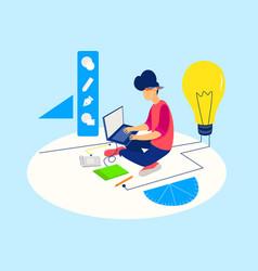 designer working on project work vector image