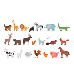 different animals farm savanna forest fauna vector image