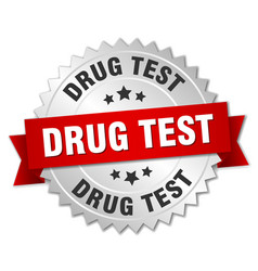 drug test round isolated silver badge vector image vector image