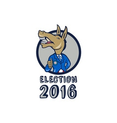 Election 2016 Democrat Donkey Mascot Circle vector image