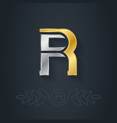 elegant gold and silver font Letter R Template for vector image