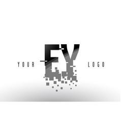 ey e y pixel letter logo with digital shattered vector image