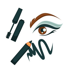Eye make up poster with all cosmetic tools vector