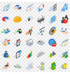Finance icons set isometric style vector