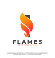Flame with letter i logo design fire logo template vector