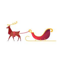 Flat christmas reindeer with santa sleigh vector