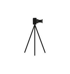 Flat lens photo camera standing at tripod vector