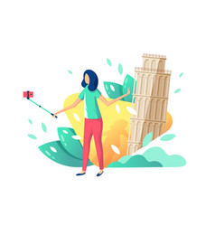 flat young beauty girl tourist with selfie stick vector image