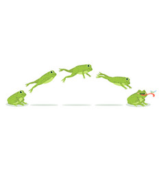 frog jump various frog jumping animation sequence vector image