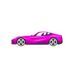 Fuchsia sports racing car supercar side view vector