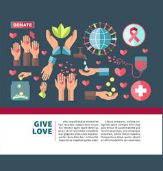 Give love agitative poster for join to charity vector
