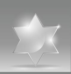 glass transparent star of david vector image