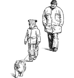 Grandfather and grandson go for a walk vector