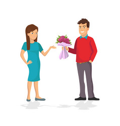 guy makes a present a bouquet of flowers for his vector image