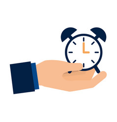 hand holding clock alarm time vector image