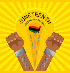 Hands with chain to celebration freedom juneteenth vector