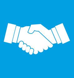handshake icon white vector image