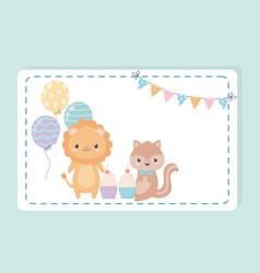 happy birthday lion squirrel cupcakes balloons vector image