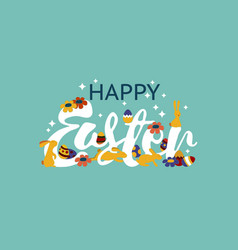 Happy easter lettering modern calligraphy happy vector