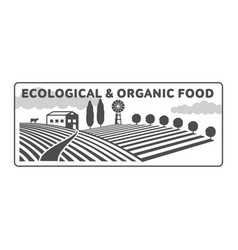 Horizontal farm fields logo badge label vector